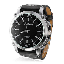 Stainless Steel Round Dial Wholesale Men's Black Leather Strap Outdoor Casual Watches