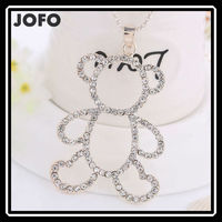 Alibaba Hot Sell Spain Fashion Light Gold Plated Rhinestone Bear Sweater Necklace for Girl ZLJ0194