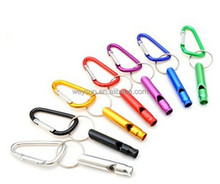 Mixed colors Quickdraw Locking Aluminum Carabiner Survival Whistle Carabiner camping supplies
