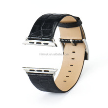 Factory Price Genuine 100% Crocodile Leather Strap for Apple Watch, Black Color