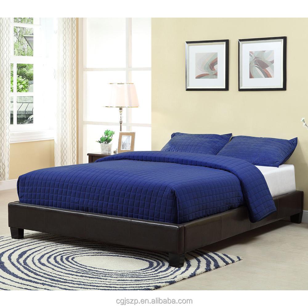 barato simple diseo de cuero negro sin cabecero tapizado cama de la plataforma with cabecero tapizado barato