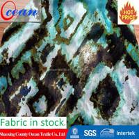 stocked cheap flower printed pleated chiffon fabric
