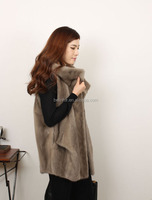 2015the most popular European style knitted real mink fur vest for women