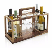 Custom made wooden wine and glasses organizer box