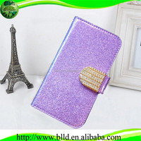 Shining with Diamond button mobile phone leather case for Huawei G510