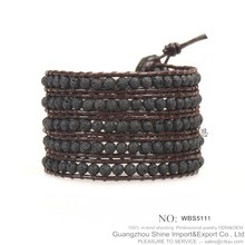 Multilayer wrap natural stone lava bead bracelet for 2015 fashion jewelry
