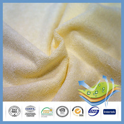 Yellow color cotton rich waterproof terry Towelling fabric PU backing