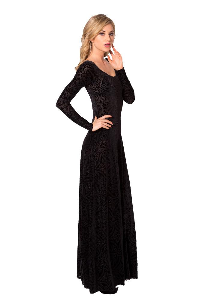 Winter Black Velvet Evening Dress Long Sleeve With Lace - Buy Black ...
