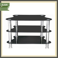 3 Tiers black glass lcd debenhams tv cabinet ZL028