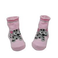 GSB-27 Bulk custom fashion cat design pink baby socks knitting