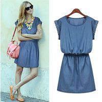 2015 summer new Europe and beaded short sleeve denim dress Z700