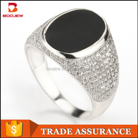 fashion ring black epoxy with zircon stone religious silver rings rings sterling silver