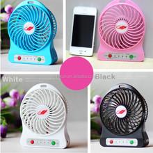 3 Speeds Portable Mini USB Fan, desk fan, Battery or USB-Powered with LED Light