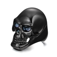 Wholesale Cool Stainless steel black skull head the expendables skull rings for men