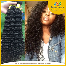 superior quality hair from malaysia 100% jet black color cheap virgin hair curly hand tied weft