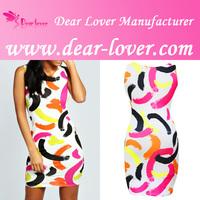 Vogue Colorful Paint Stroke Digital Print Dress