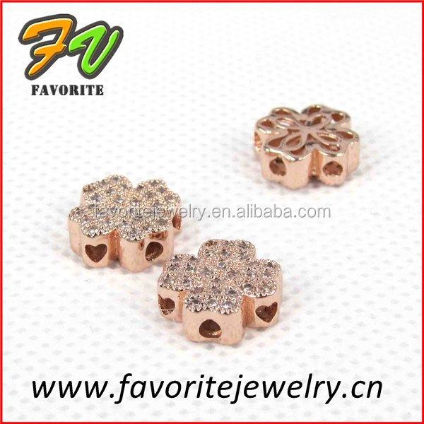 Clover rose gold pflastern <span class=keywords><strong>strass</strong></span> schmuck charme perlen