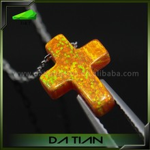 Created 9*12mm in 55Colors Quartz Opal Cross Necklace and 925 Silver Chain