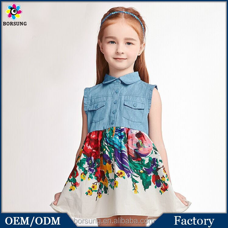 2015 Latest Design Summer Denim Splice Girls Dress Sleeveless Collar Frock Design For Cutting