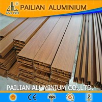 Aluminum powder coated profiles manufacturer in China, wood grain extrusion profiles for door and window