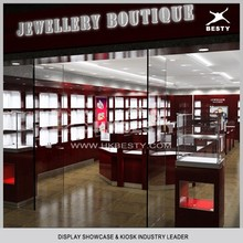 ODM most luxury cherry solid wood jewelry kiosk design ideas with led