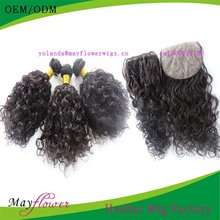 Top grade virgin human loose curl hair extensions match silk base closure three /side part bleached knots ready to ship