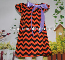 Preety Design new arrival baby girl chevron dress orange black with bow halloween petti dress for girls wholesale price