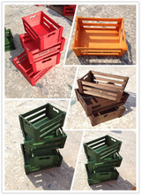 wholesale cheap Colorful vintage promotional plywood wooden storage crate