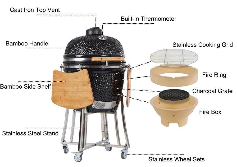 TOPQ grand kamado 23 pouce céramique barbecue fumeur jardin Kamodo Grills