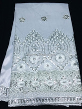 george lace fabric for wedding /african style georgette white NG50402-1