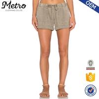 Women Wholesale 100% Cotton Acid Washed Shorts With Cuffed Hem