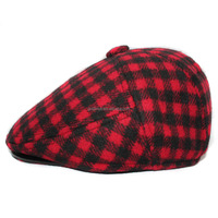 Unisex duckbill flat cap fashion plaid ivy caps mens ivy hats for winter