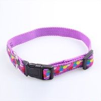 custom colored nylon woven strap logo sewed dog collar