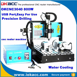 OKACC China factory 800w spindle motor 3040 USB2.0 port 4 axis cnc router engraver machine, cnc router machine for aluminum