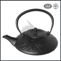 Japanese black enamel painting cast iron teapot