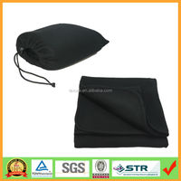 Black snuggling air conditioner blanket with a hooked bag