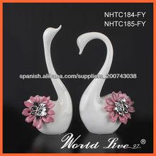 NHTC184-185-FY Rosa y plata, cerámica Cisne Home accesorio Decoración