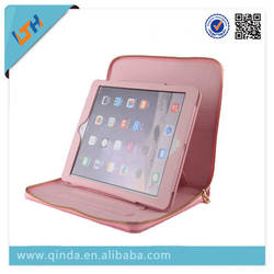 2014 Newest pu Leather with zipper and crown Case Cover With Stand and card holder For Ipadr Protective Case