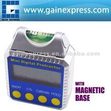 De alta precisión digital cuadro de bisel/clinómetro/transportadores con nivel de burbuja construido - en la base magnética