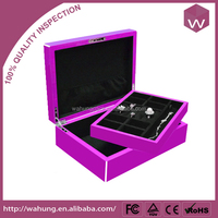 High Glossy Finish Two Tone Detailing Velvety Interior Jewelry Storage Box With Key lock