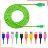 HOT 1M/2M/3M Nylon Fabric Braided Micro Data Sync USB Cable