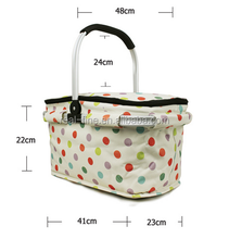 600D Foldable Outdoor Picnic Thermal Lunch Bag Insulated Cooler Basket Waterproof bag