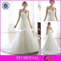 CE55 2015 Custom Made Strapless A-Line Tulle Boob Tube Top Design Wedding Dress For Women