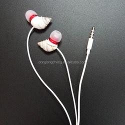 Cute Trumpet Shell Shape Mini in Ear Headphones With Mic