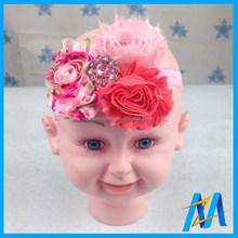 Kids Artificial Shabby Flowers Nice Rhinestone Making Headband Baby Girl Headband Wholesale Flower Headband With Fabric Flower