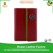 """Bowen BWB- 26 China red 6x4.2"""" refillable leather pocket notebook"""