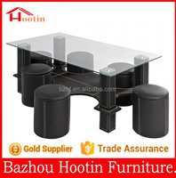 2015 high quality glass table top and leather cover base coffee table for home furniture
