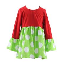 2015 New Style Ruffle Knitted Cotton Long Sleeve Christmas Kids Girls Dress Simple Chevron Girls Frocks Designs Latest