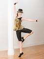 Mb2015116 oro atractivo superior pantalón negro moderno de baile al oeste del lycrial Jazz hip hop hip hop disfraces infantiles