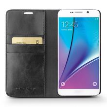 QIALINO Best Quality Hand Maded Leather Military Grade Cell Phone Cases For Samsung For Galaxy Note 5
